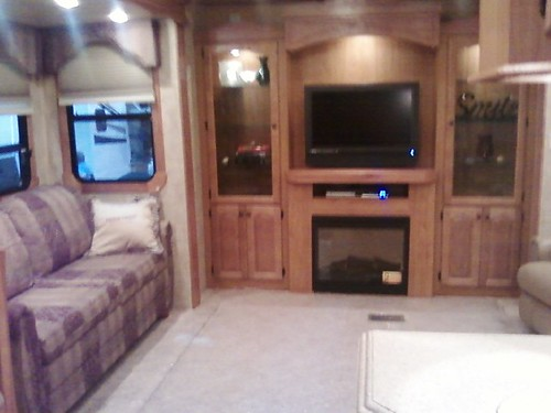 Inside one of the RVs