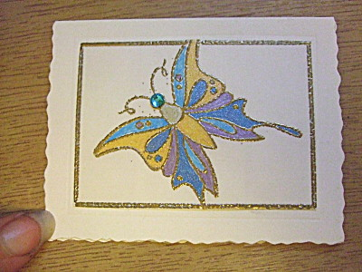 the matching gift tag. The butterfly on this was stamped directly onto the paper, not on parchment paper as with the invite, but the colours match.