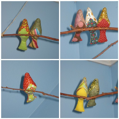 spool sewing bird mobile