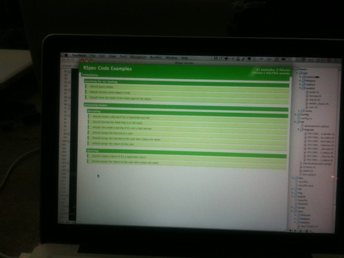It's green. Amazing! #railscamp cc @rosshill