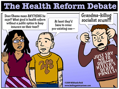 Healthcare debates in the USA, cartoon by Mikhaela