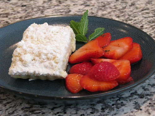 Entenmann's Cheese Filled Crumb Coffee Cake with Cognac Mint Strawberries