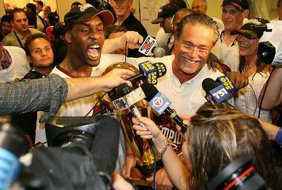 Miami Heat owner Micky Arison talking to the media after winning the 2006 NBA Championship.