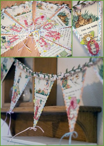 We adored the way this festive banner incorporated trendy vintage book pages.