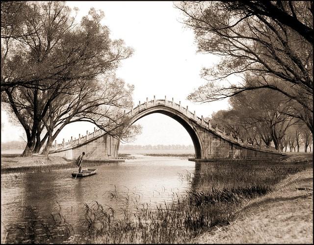 Jade Belt Bridge & Boat, Summer Palace, Peking, China [c1924] Sidney D. Gamble [RESTORED]