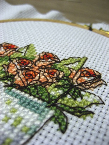 Delicate stitches on A Glassful of Roses