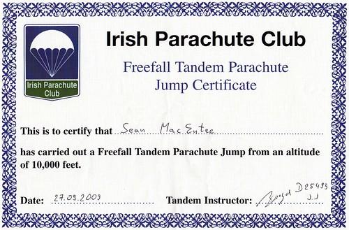 skydive certificate