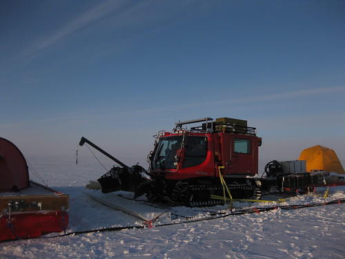 """Our Pisten Bully (""""peanut butter"""") being TOWED to Thule!"""