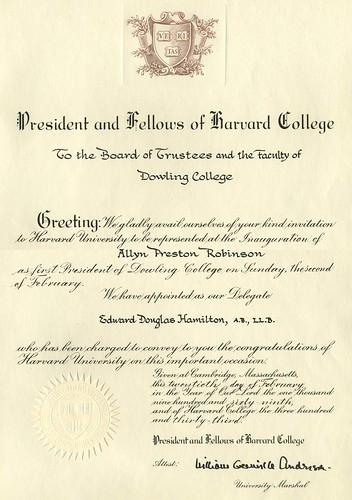 Inauguration Congratulations from Harvard