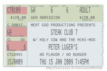 steak club 7 peter luger ticket