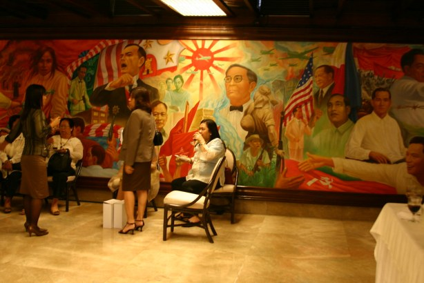 A mural of heroes at the Heroes Hall