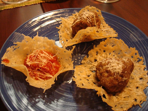 Parmesan Crisps with Swedish Meatballs