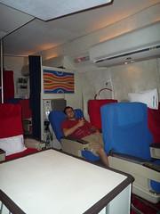 Reclining in Pan Am First Class Seat