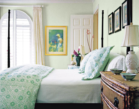 Green bedroom with Benjamin Moore Cloud White, via Roomlust