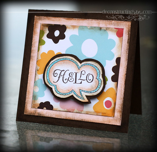 Hello, note card, hand stamped, hand distressed