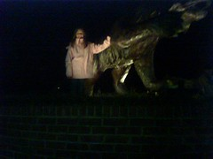Victoria with the wildcat statue outside Belk Arena vs. Furman, 1/21/09