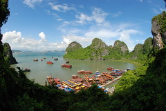 Views from outside the Hang Da Gu cave in Halong Bay...every single one of these boats was filled with at least 16 tourists