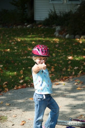 Jessica rides without training wheels