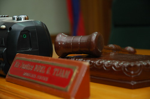 The gavel of head justice for the court, Associate Justice Tijam (Photo by Jack Stephens)