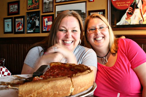 Heather and Cindy, enjoying pizza at Giordanos.