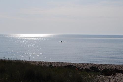 A lone paddler