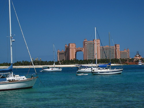 Atlantis towers from across the bay