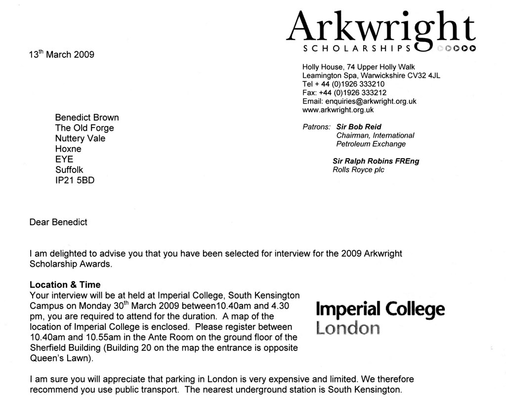 The results of my Arkwright scholarship exam. I got in.
