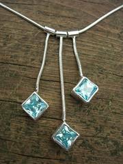 Aqua blue cz necklace