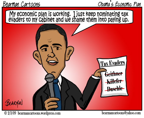 2 3 09  Bearman Cartoon Obama Cabinet Tax Evader copy