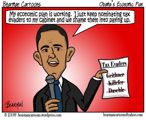 2 3 09  Bearman Cartoon Obama Cabinet Tax Evader copy