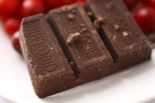 Chocolate squares and cranberries