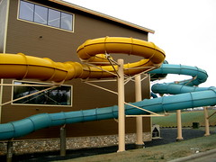 Some of the water slide tubes come out of the building then go back in at the Great Wolf Lodge
