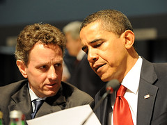 Barack Obama and Timothy Geithner