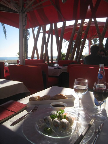 Sushi with a view of Barceloneta beach