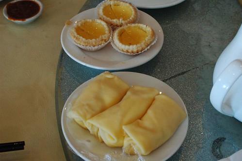 Custard tarts, mango pancakes