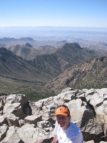 Tabitha at the summit, with Blue Canyon behind her