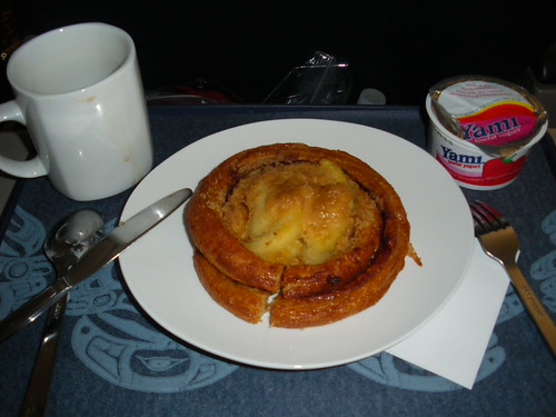 My 1st Class breakfast. See, not all that impressive.  Loved the yogurt though, as did my shirt. Im so graceful.
