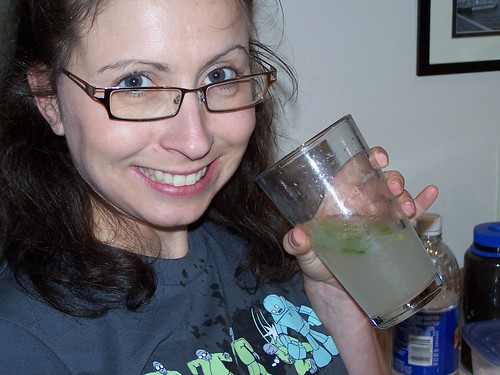 some sugar, rum, and seltzer water (in the glass and on my shirt) and enjoy.. yum