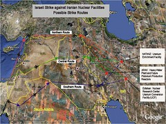 Israeli strike against Iranian nuclear facilities - Possible strike routes