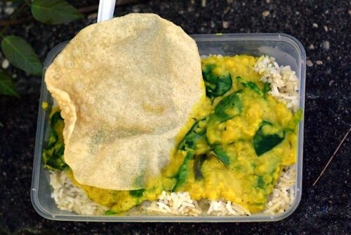 Spicy rice with Daal and Spinach Curry from Tamarind Tree Curries, Wollongong Multicultural Festival, McCabe Park Wollongong by you.