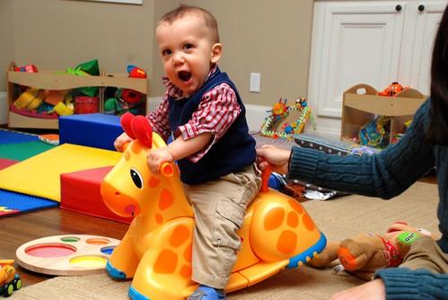 A Very Good Garage Sale Find (the giraffe, not the boy)