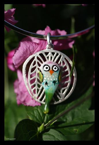 BINDIKEET...fused glass funky parakeet by Sandra Miller ©2009 by you.