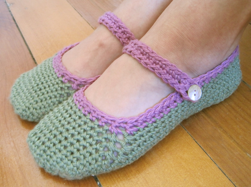 Free Pattern For Crocheted Mary Jane Slippers The Little House By