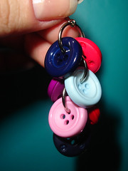 button earrings - blues and pinks version