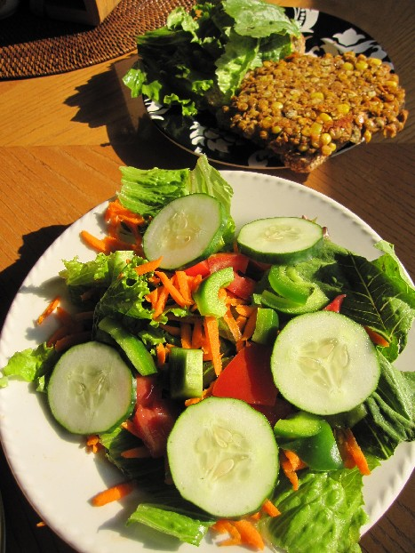 Curried Lentil Burger with Salad