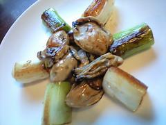 牡蠣とネギをオリーブオイルで炒めたの