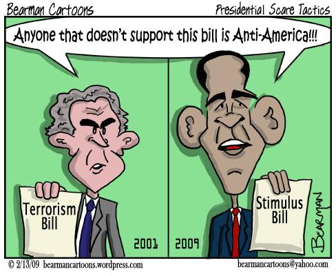 2 13 09  Bearman Cartoon Obama Pushy Presidents