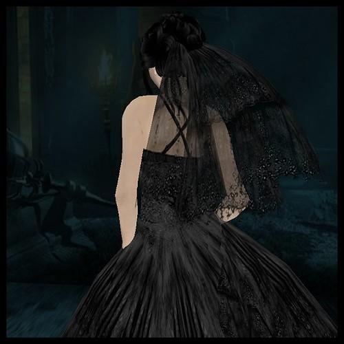 Marinoco Black Flowered Wedding Dress2