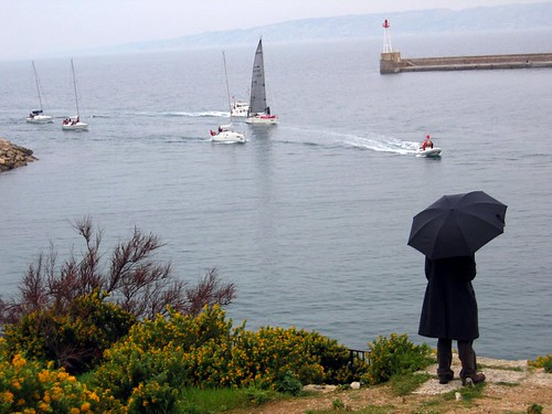 A man with an umbrella watches sailboats come back from a race.