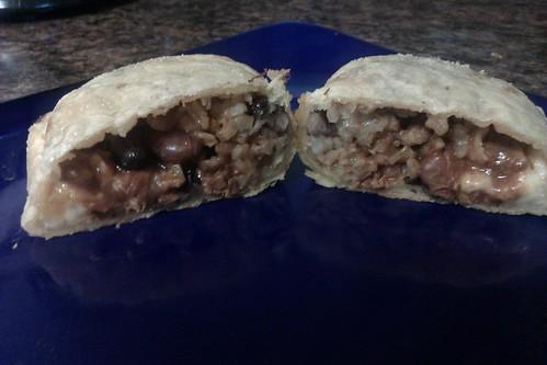 Chicken Chili, Beans and Brown Rice, and Cheese Empanada